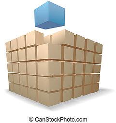 Schraubkisten Puzzle ein abstrakter Würfel erhebt sich von Stapeln