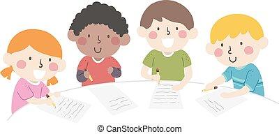 schreibende, abbildung, gruppe, kinder, tisch