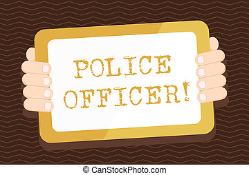 Schreibt einen Zettel mit Polizeibeamten. Business-Foto zeigt eine Demonstration, wer ist ein Offizier der Strafverfolgungs-Team Color Tablet Smartphone mit Screen Handheld Back of Gadget.