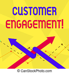 Schreibt Text Kundenbindung. Konzept bedeutet die emotionale Verbindung zwischen einem Kunden und einer Marke Two Arrows, in der man als Team Up oder Wettbewerb miteinander verbunden ist.