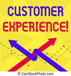 Schreibt Text Kundenerfahrung. Konzept bedeutet ein Produkt einer Interaktion zwischen einem Kunden und Kunden Two Arrows, wo man als Team Up oder Wettbewerb miteinander verbunden ist.