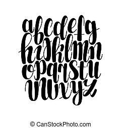 schriftart, handgeschrieben, alphabet., vektor
