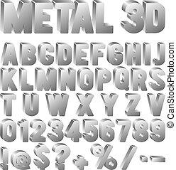 schriftart, metall