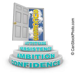 Schritte, die zum Erfolg führen - offene Tür