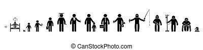 schueler, leute, auf, geschäftsmann, mann, stock, altes , piktogramm, ikone, menschliche , tot, vektor, set., schuljunge, leben, figur, prozess, baby, reihenfolge, mann, wachsen, krank, kind, pensioniert, kind, zyklus, altern