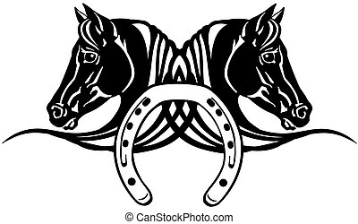 schuh, köpfe, pferden, schwarz