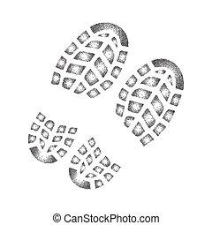 Schuhabdruck mit Tintenpatrone.
