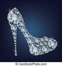 Schuhe formten eine Menge Diamanten.
