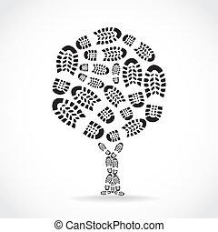 Schuhe gedruckt in einer Baumsalbe - Illustration