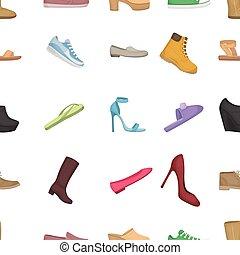 Schuhe Muster Icons im Zeichentrickfilm. Große Sammlung von Schuhen vektorgrafik Symbol.