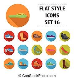 Schuhe setzen Symbole im flachen Stil. Große Kollektionsschuhe Vektor-Symbol-Aktivierung