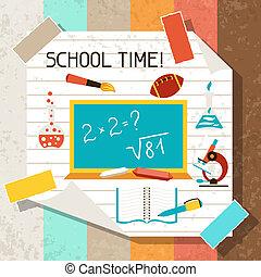 Schul- und Bildungshintergrund mit klebrigen Papieren.