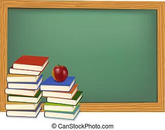 Schulbücher auf dem Schreibtisch. Vector.