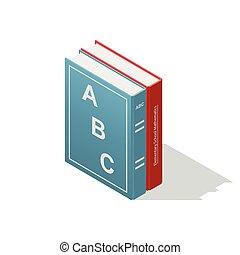 Schulbücher isometrische Ikone.