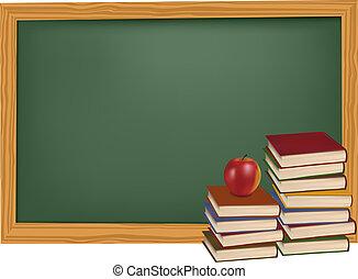 Schulbücher mit Apfel