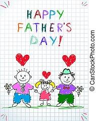 Schuldenfamilie. Glückliche Vatertagskinder zeichnen.