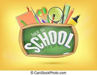 schule, begriff, hilfe, bunte, zurück, chalkboard., elemente, grün, unter, bereit, vorräte, bildung