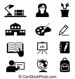 Schule, Bildung und College Ikonen.