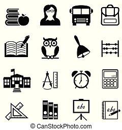 Schule, Bildung und lernen Web Icon Set.