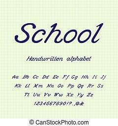 Schule. Handgeschriebenes Alphabet.