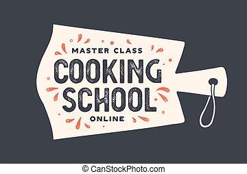 schule, kochen, schneiden, kueche , board., logo
