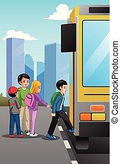 Schulkinder an der Schulbushaltestelle Illustration.