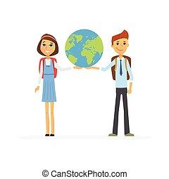 Schulkinder - Figuren des glücklichen Jungen, Mädchen mit Globus