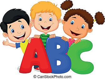 Schulkinder mit ABC.