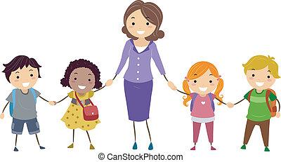 Schulkinder und Lehrerin