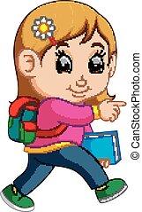 Schulmädchen-Karikaturen laufen.