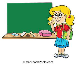 Schulmädchen mit Tafel beraten