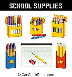 Schulsachen für zurück zur Schule.