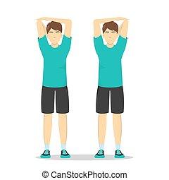 schulter, schmerz, entlasten, strecken, exercise.