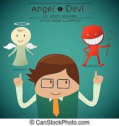 Schultern Engel und Teufel.