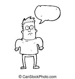 schultern, mann, shruggin, karikatur