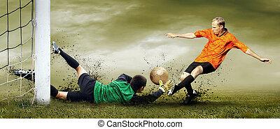 schuss, feld, footballspieler, draußen, torwart