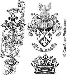 schutzschirm, königtum, krone, kreuz, element