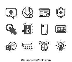 schutzschirm, satz, medizinische ikon, idea., vektor, hier, solch, technologie, klicken