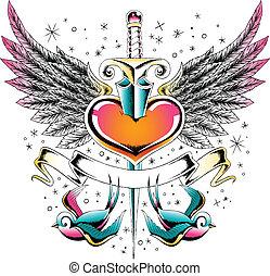 Schwalbenflügelherz-Emblem