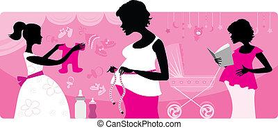 schwanger, drei frauen