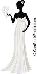 Schwangere Braut in langem Kleid, Vektor Silhouette.