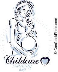 Schwangere Frau elegant Körper Silhouette, schwache Vektorgrafik. Das Werbeplakat der Mutterstation