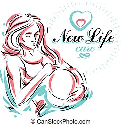 Schwangere Frau elegant Körper Silhouette, schwache Vektorgrafik. Mutter-Tag-Konzept-Flyer