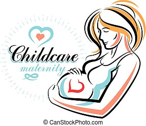 Schwangere Frau elegant Körper Silhouette, schwache Vektorgrafik. Reproduktionsklinik Werbung