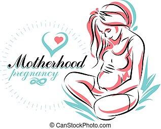Schwangere Frau elegant Körper Silhouette, schwache Vektorgrafik. Schwangerschaft und Mutterschaftspopulation