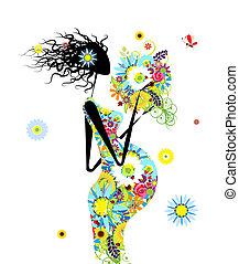 Schwangere Frau mit Blumenstrauß für Ihr Design