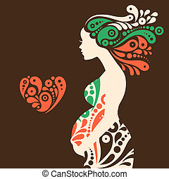 Schwangere Frau Silhouette mit abstrakten dekorativen Blumen und Herzsymbol.