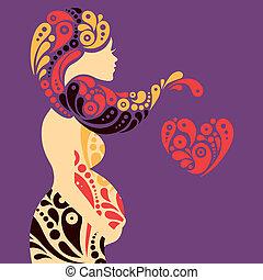 Schwangere Frau Silhouette mit abstrakten dekorativen Blumen und Herzsymbol