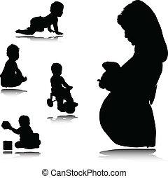 Schwangere Mutter mit Baby