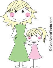 Schwangere Mutter mit ihrer Tochter